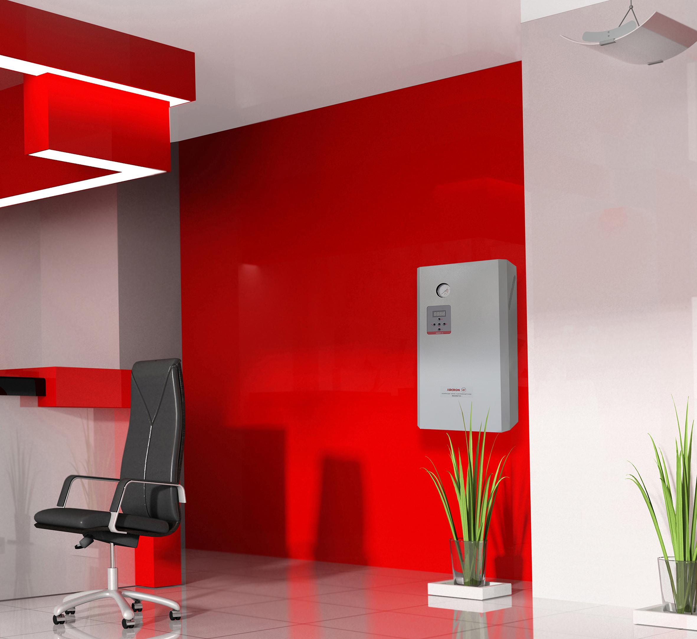 wizualizacja kotła elektrycznego zamontowane w biurze